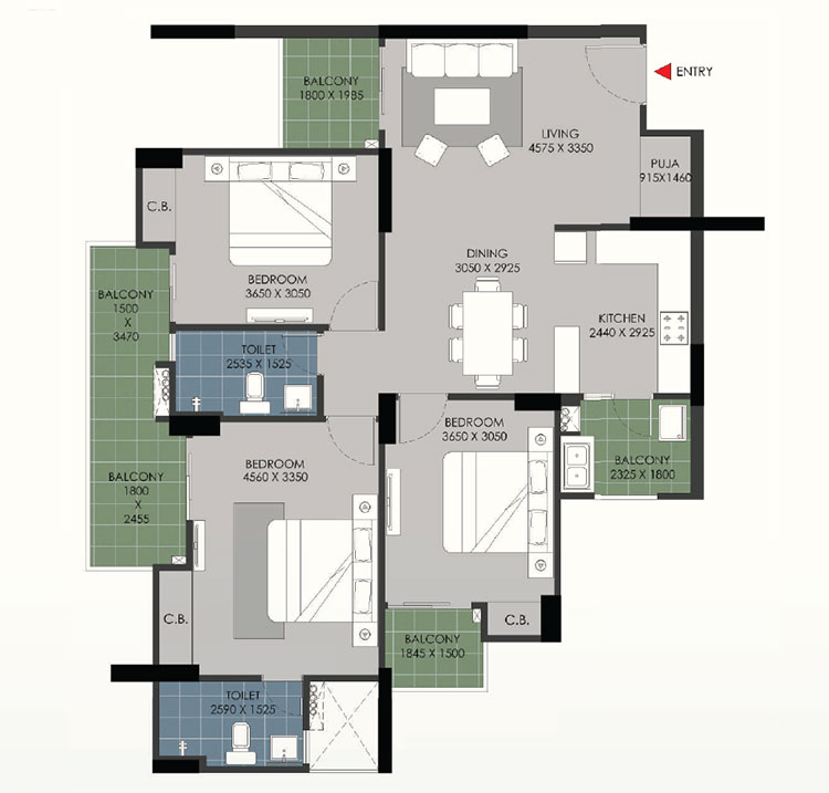 B 3 BHK with Puja room
